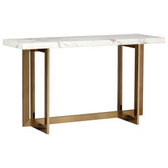 Contemporary Architectural Console Table in Antique Brass Base