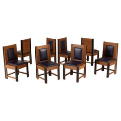 Set of Eight Oak Art Deco Haagse School Chairs by Randoe Haarlem, 1920s