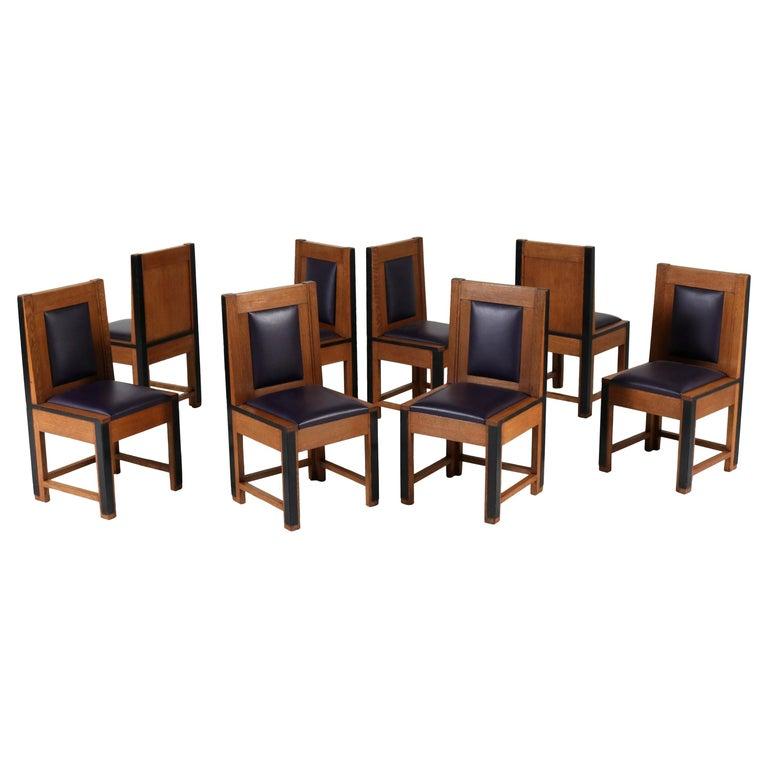 Set of Eight Oak Art Deco Haagse School Chairs by Randoe Haarlem, 1920s For Sale