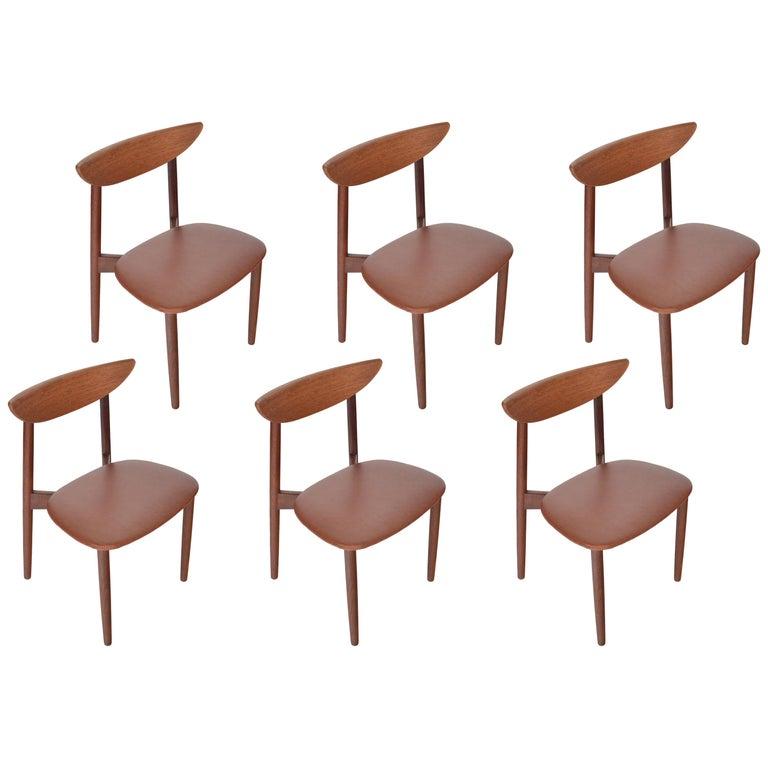 Set of Six Harry Østergaard Model 58 Teak Dining Chairs For Sale