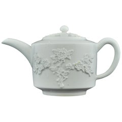 Teapot in the White, Prunus Decorated, Bow, circa 1749