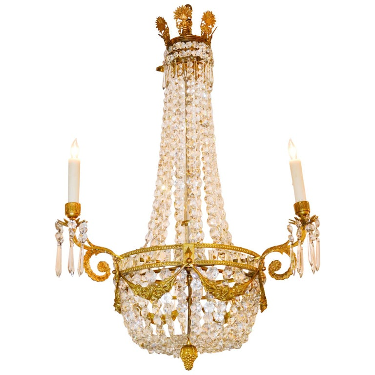 19th Century, French Bronze Basket Chandelier For Sale