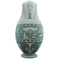 Canopic Jar, Sage Green Jasperware Wedgwood, 1877