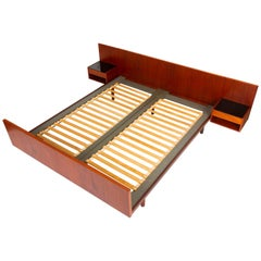 Queen Size Teak Bed Frame with Floating Nightstands by Hans Wegner for GETAMA