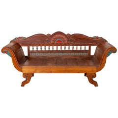 Plantation Javanese Teak Settee with Polychrome Décor and Out-Scrolling Arms