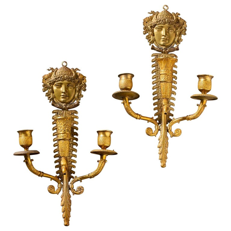 Pair of Neoclassical Antique French Empire Style Gilt Bronze Sconces, circa 1870 For Sale