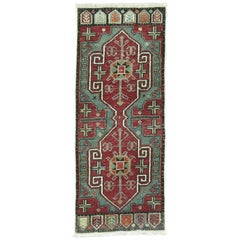 Green Vintage Anatolian Turkish Rug