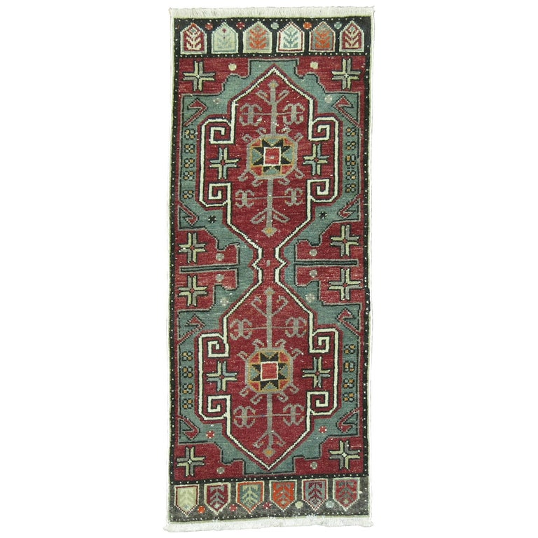 Green Vintage Anatolian Turkish Rug For Sale At 1stdibs