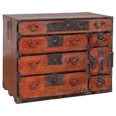 Japanese Meji Period Tansu Chest in the Sendai Dansu Style Made of Keyaki Wood