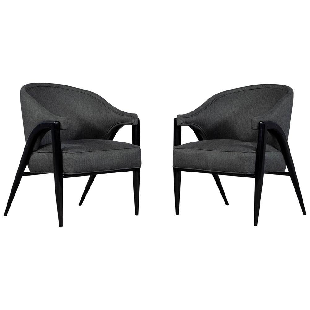Vintage Original Mid-Century Modern Pair of Club Chairs