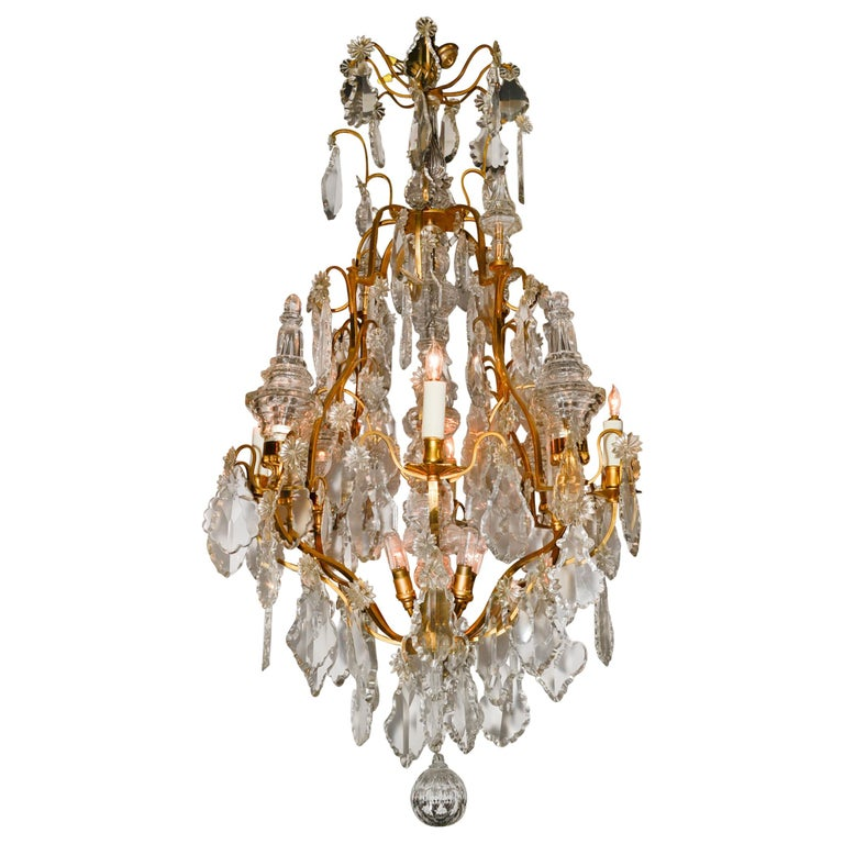 French Bronze and Crystal Chandelier For Sale