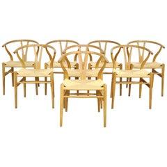 Set of Eight Hans Wegner Oak Wishbone Chairs