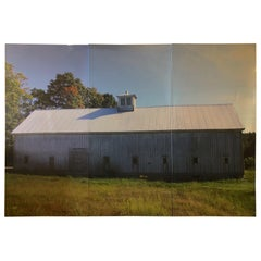 Photograph in Dramatic Large Size Triptych of New England Barn in Early Autumn