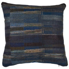Indian Handwoven Pillow Blue/Green Stripe Pillow