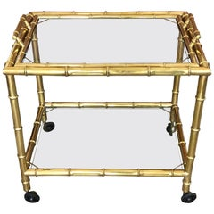 Elegant French Brass Faux Bamboo Bar Cart with Removable Tray Top