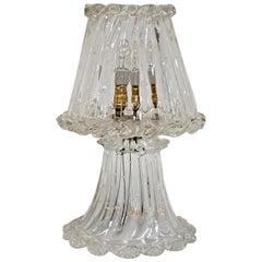 """Ercole Barovier Art Deco Murano Glass """"Bullicante"""" Italian Table Lamp, 1940s"""