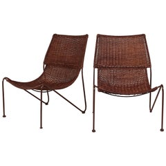 Pair of Scoop Chairs in Wicker Rattan