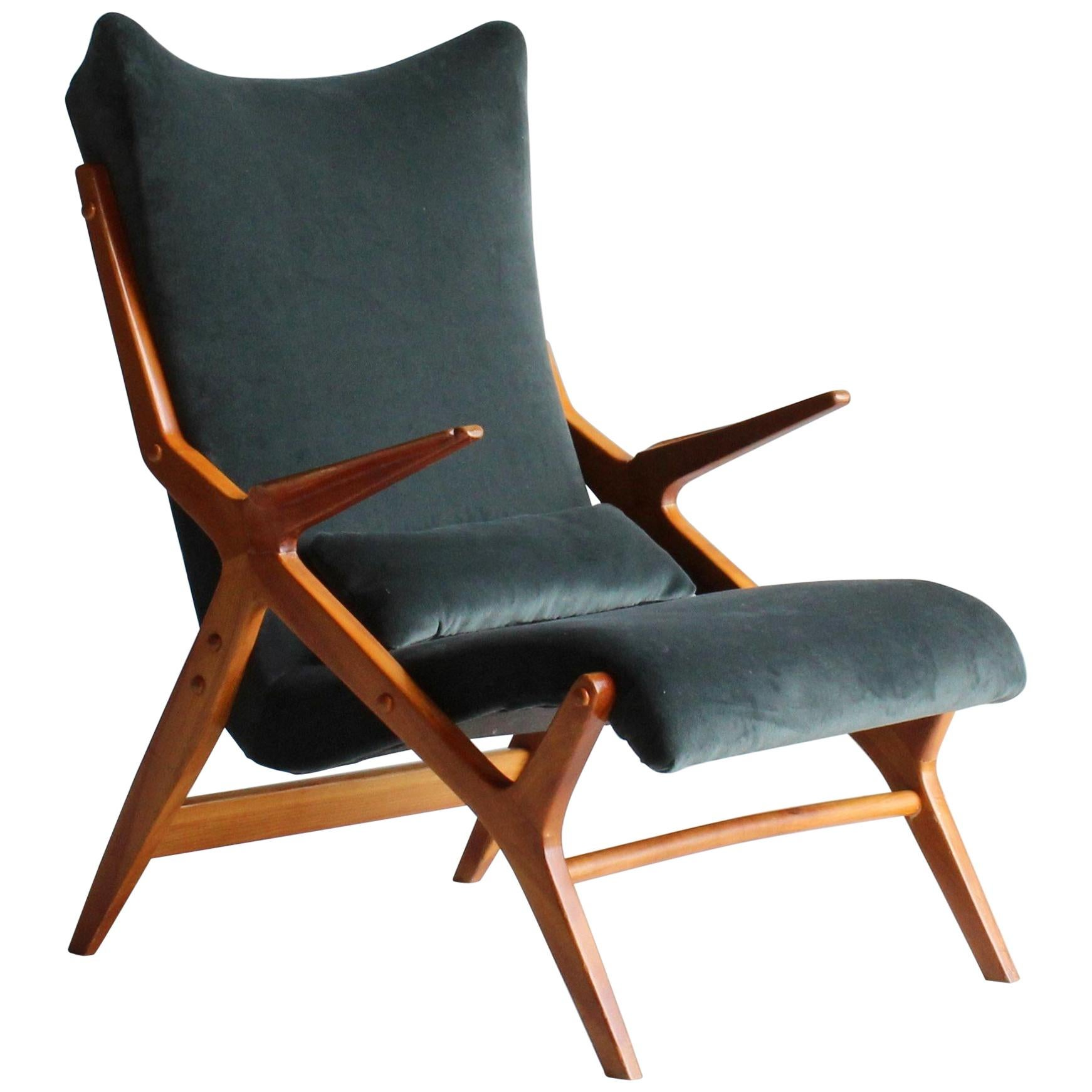 Scandinavian Modernist Designer, Lounge Chair, Elm, Green / Blue Velvet, 1950s
