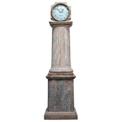 18th Century Swedish Neoclassical Working Long Case Clock in Original Paint