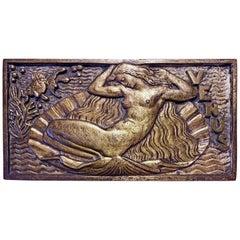 """Birth of Venus,"" Fabulous Art Deco Bronze Plaque with Underwater Scene"