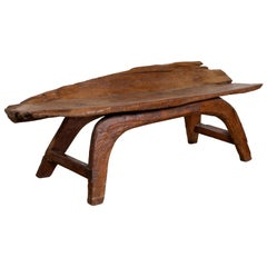 Freeform Design Antique Wooden Bench from the Riverbed of Bali with Arching Base