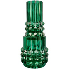 Very Rare Crystal Faceted Val Saint Lambert Green Stacked Vase in Two Parts