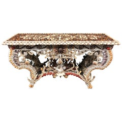 French Seashell Encrusted Console / Entry Table