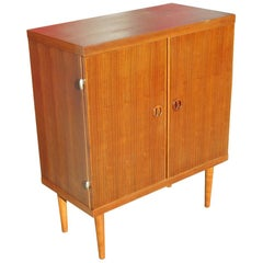 Danish Modern Rose Stained Cabinet w/ Sculpted Pig Nose Pulls