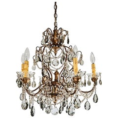 French Six Light Crystal Chandelier