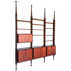 Italian Teak, Black Metal and Brass Midcentury Bookshelves Roomdivider