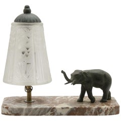 French Art Deco Table Lamp Signed by Muller Frères with Bronze Elephant Motif