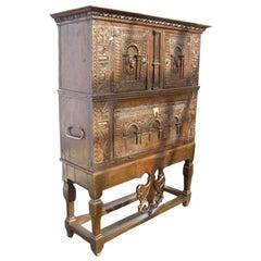 Oak Renaissance Cabinet, 1600 Unikat