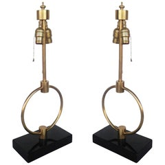 Gilbert Rohde Style Brass Ring Table Lamp, Pair