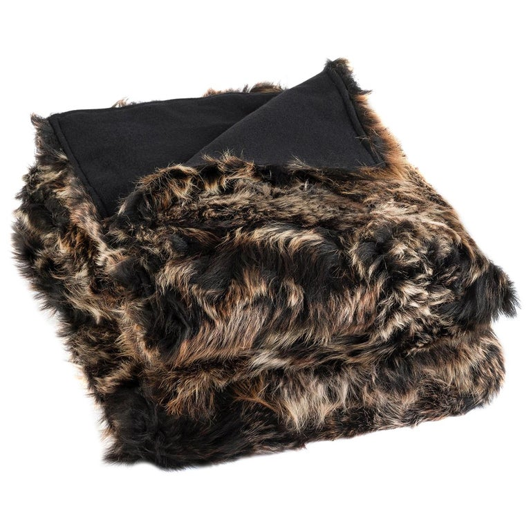 JG Switzer Toscana Sheep Fur Truffle Throw Backed with Lambswool/Cashmere For Sale