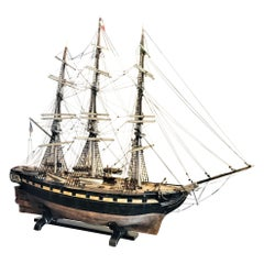 "Large 19th Century Painted Wood Model of the Sailing Ship ""Margaret"" Sculpture"