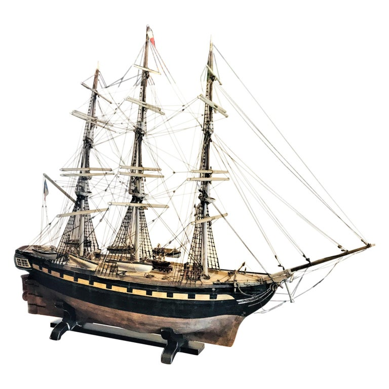 "Large 19th Century Painted Wood Model of the Sailing Ship ""Margaret"" Sculpture For Sale"
