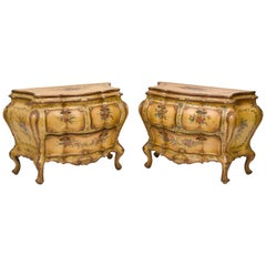 Pair of Italian Rococo Style Hand Painted Commodes, Late 19th Century