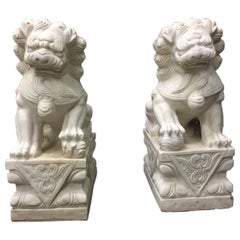 Pair Chinese Carved White Marble Fu Dogs