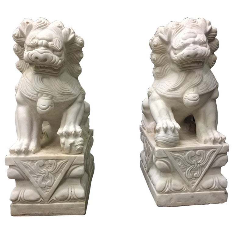 Pair Chinese Carved White Marble Fu Dogs For Sale