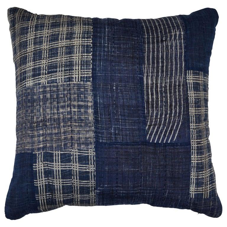 Indigo Patchwork Pillow Blue For Sale