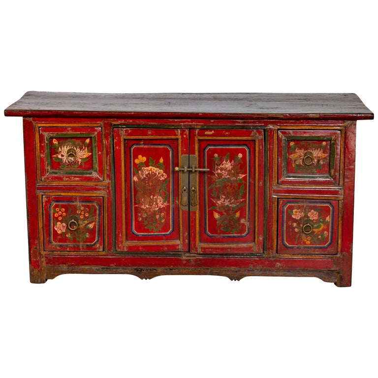Mongolian Red Lacquered Cabinet With Hand Painted Fl Décor Circa 1900 For