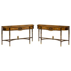 Pair of George III Style Hand Painted Satinwood Consoles