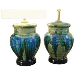 Pair of Multi Color Ceramic Lamps