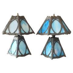 Pair of Art Nouveau Blue Slag Glass Lamps
