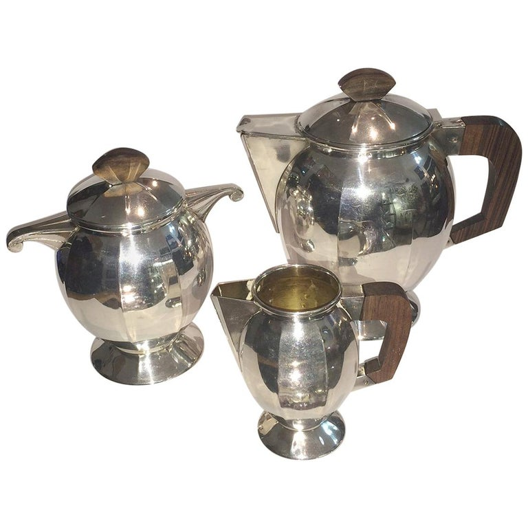 Art Deco French Silver Plate Coffee and Tea Service For Sale