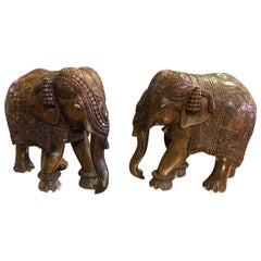 Pair of Indian Carved Hardwood Elephants with Bone Inlay