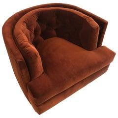 Burnt Orange Tufted Swivel Chair by Milo Baughman
