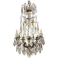 Tall Bronze Belle Époque 21-light Chandelier with Smoke and Mauve Crystals