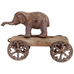Vintage Elephant Pull Toy, Cast Iron, USA, Early 20th Century