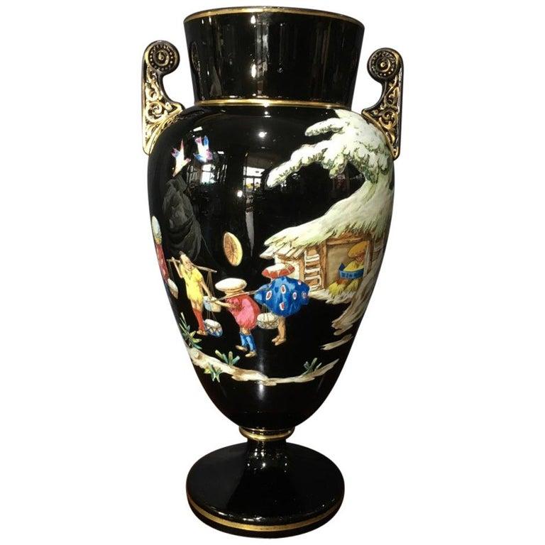 Dudson Black Glaze Chinoiserie Vase, Euterpe Pattern, circa 1875 For Sale